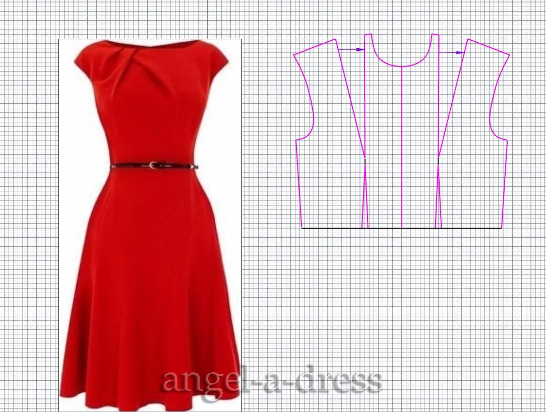 Моделирование платья горловины