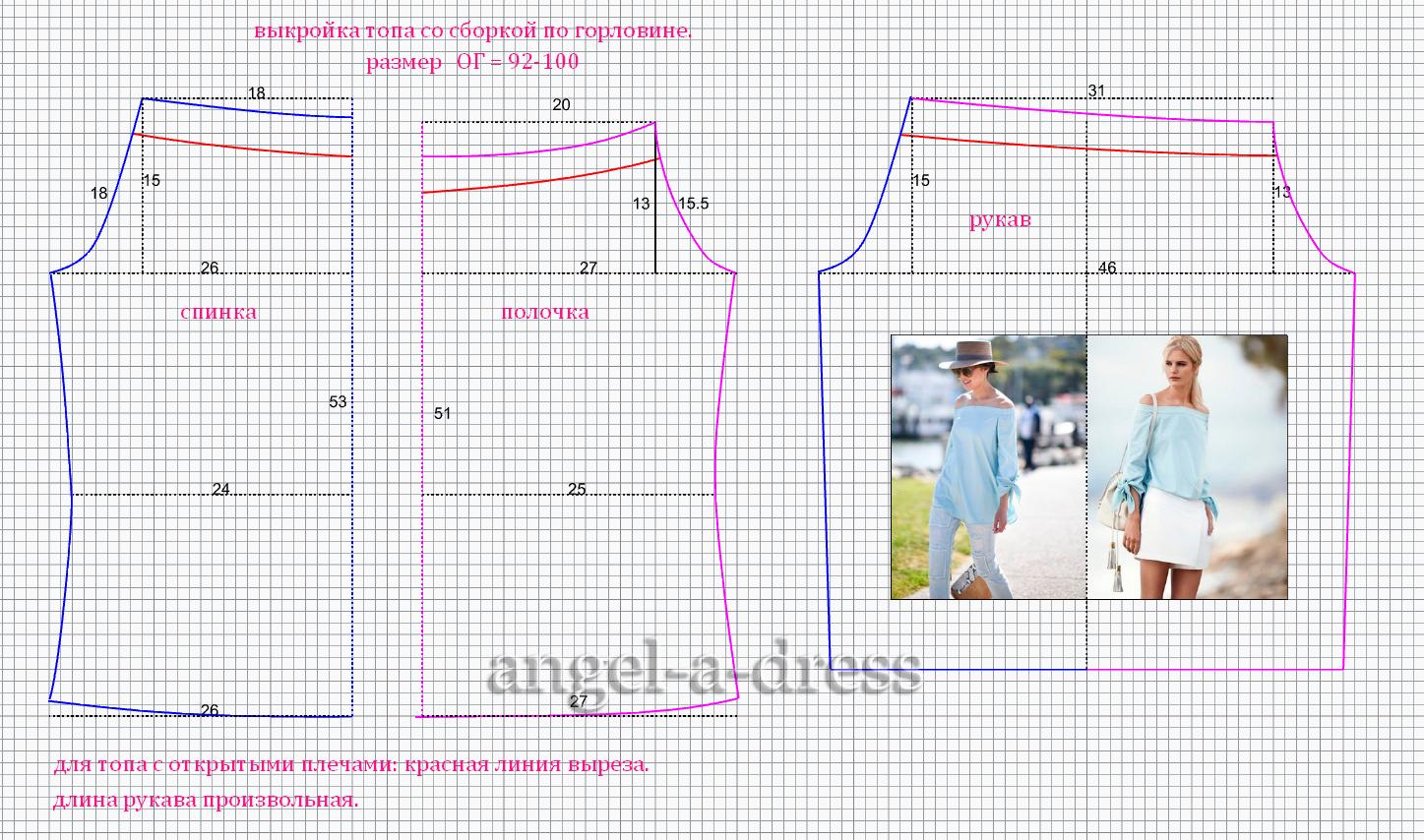 Выкройка блузки без плеча