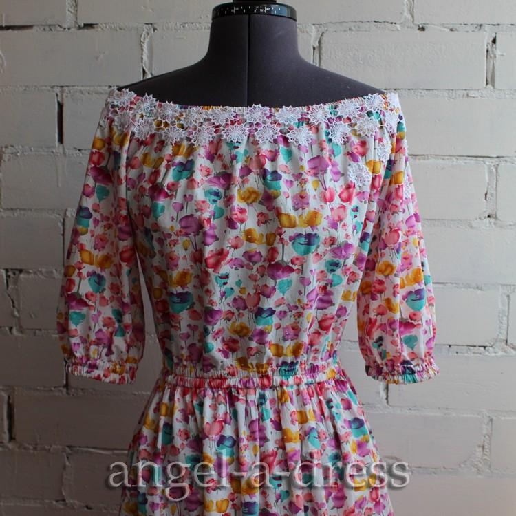 Платье с открытыми плечами шьём вместе | | Творческая мастерская Ангел А