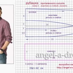 выкройка воротник рубашки 50 размер